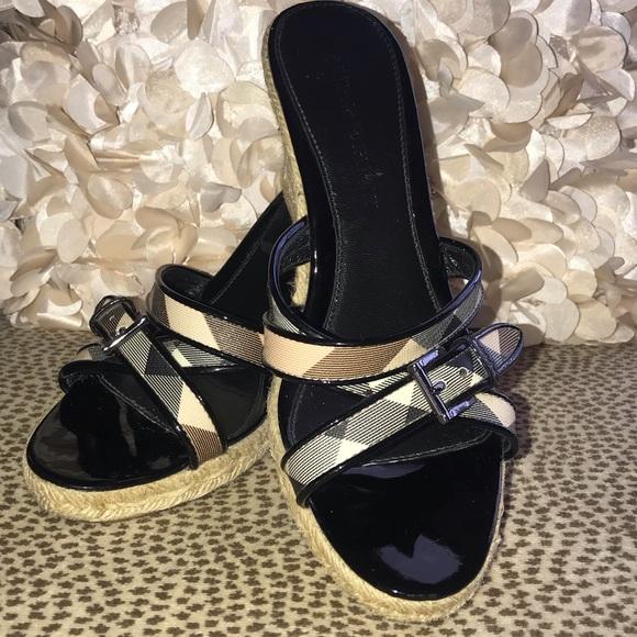 354df5922b7 Burberry Shoes - Burberry Nova Check wedge sandals